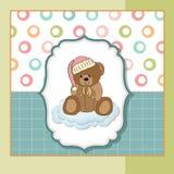 婴孩熊看板卡问候女用连杉衬裤 库存例证