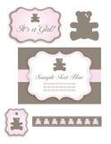 婴孩熊被设置的女孩图标淋浴标签 库存照片
