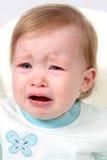 婴孩特写镜头哭泣的女孩 免版税库存图片