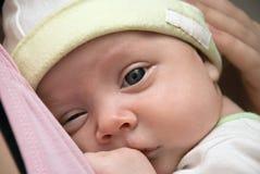 婴孩特写镜头纵向 库存图片