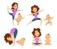 婴孩瑜伽 与母亲和她的婴孩的相互锻炼 不同的姿势和锻炼初学者的 漫画人物儿童五颜六色的图象例证 库存例证