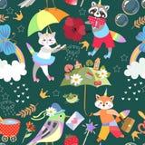 婴孩的无缝的明亮的样式有独角兽小猫,浣熊和小的狐狸的,彩虹,蝴蝶,花,冠,不可思议的鞭子 向量例证