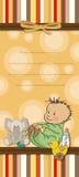 婴孩看板卡动画片滑稽的阵雨 免版税库存照片