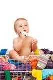婴孩看板卡给赊帐穿衣 免版税库存图片