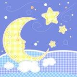 婴孩看板卡逗人喜爱的问候月亮 免版税库存照片