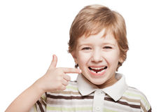 婴孩秋天第一颗牛奶临时牙 库存照片