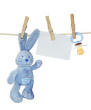 婴孩空白蓝色货物附注 免版税库存照片