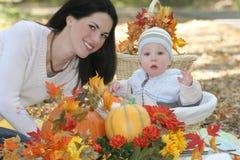 婴孩篮子穿蓝衣的男孩被注视的秋天&# 图库摄影