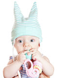 婴孩美丽的男孩小的玩具 免版税图库摄影
