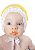 婴孩美丽的男孩小的玩具 免版税库存照片