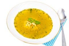 婴孩背景食物通心面原始的白色 鸡意大利面食汤 库存图片
