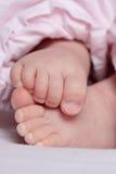 婴孩英尺新出生的粉红色 免版税库存图片