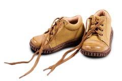 婴孩被解开的赃物鞋带 库存图片