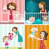 婴孩设计母亲集 免版税库存图片