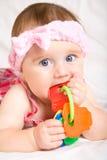 婴孩逗人喜爱的女孩一点 图库摄影