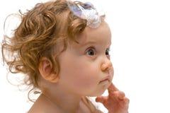 婴孩逗人喜爱的女孩查出的纵向 免版税库存图片