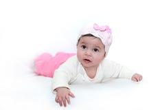 婴孩逗人喜爱的女孩白色 免版税库存照片