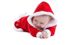 婴孩逗人喜爱的小的圣诞老人诉讼 免版税库存照片