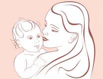 婴孩逗人喜爱的愉快的母亲 库存照片