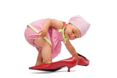 婴孩逗人喜爱的方式女孩夫人 图库摄影