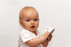 婴孩逗人喜爱的纵向 免版税库存照片