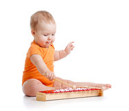 婴孩音乐使用的玩具 免版税库存照片