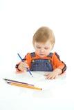 婴孩颜色相当凹道铅笔 库存图片