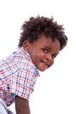 婴孩黑人男孩逗人喜爱的纵向 免版税库存图片
