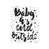 婴孩,它` s冷的外部-手拉的圣诞节和新年寒假在行情上写字隔绝在白色 免版税图库摄影
