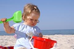 婴孩beach1 免版税库存照片