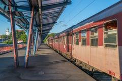 媒介,罗马尼亚- 2017年5月28日, :火车站在媒介的一个晴天,罗马尼亚 图库摄影
