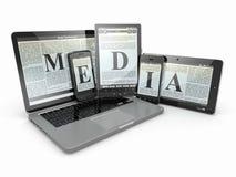 媒体。 膝上型计算机、电话和片剂个人计算机。 库存图片