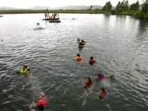 媒体月神墨西哥游泳盐水湖 库存照片