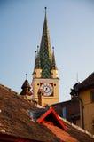 媒体,罗马尼亚-号兵的塔 免版税库存照片