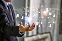 媒介全世界技术连接和做金钱概念 M 免版税库存照片