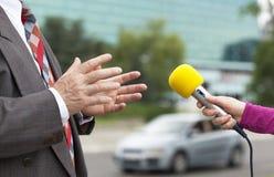 媒介采访 免版税库存图片
