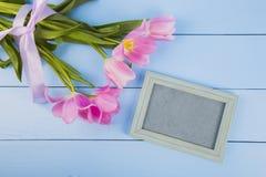 嫩桃红色郁金香花束与空的照片框架的在蓝色求爱 库存照片