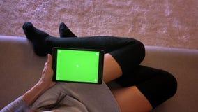 嫩肉欲的女性特写镜头画象使用片剂的有绿色屏幕的 在一个舒适位置的女孩腿在袜子 股票视频