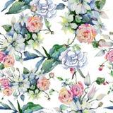 嫩花束花 无缝的背景模式 织品墙纸印刷品纹理 库存例证
