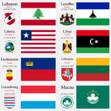世界旗子和资本设置了13 库存照片