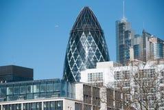 嫩黄瓜,摩天大楼在伦敦 库存照片
