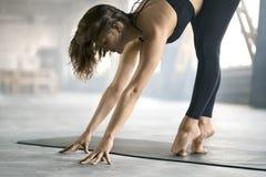 嬉戏女孩瑜伽训练 库存照片