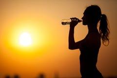 年轻嬉戏妇女饮用水的剪影 库存照片