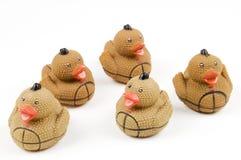 嬉戏沐浴的鸭子 免版税库存照片