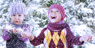 嬉戏的兄弟姐妹在冬日 免版税库存照片