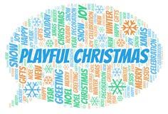 嬉戏的圣诞节词云彩 皇族释放例证
