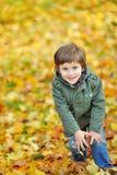嬉戏的小男孩纵向在公园 库存图片