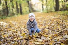 嬉戏的小男孩纵向在公园 图库摄影