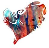 嬉戏的柔和的淡色彩在白色背景的被隔绝的心脏 免版税库存图片