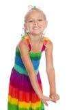 嬉戏的矮小的美丽的女孩 库存图片